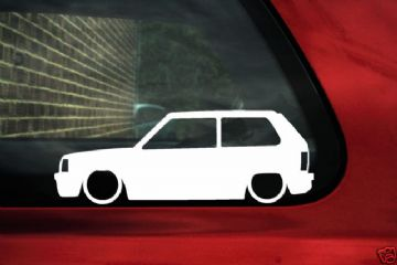 2x LOW Fiat Panda Mk1 Silhouette, outline car window / bumper stickers,Decals for Panda '86 facelift